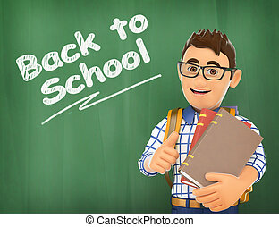 3D Young student back to school on a chalk