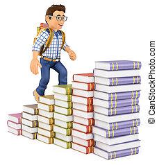 3D Young student climbing a books bar graph
