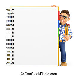 3D Young student with a huge blank notepad
