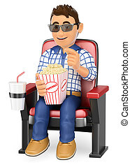 3D Young teen in the cinema with popcorn and drink - 3d ...