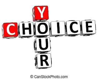 3D Your Choice Crossword on white background