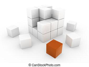 3d, zakelijk, kubus, sinaasappel, witte