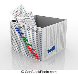 3d, zakelijk, tabel, in, de doos