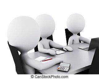 3d, zakenlui, in, een, werkkring vergadering, room.
