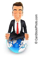 3d, zakenman, doen, yoga, bovenop, de aarde