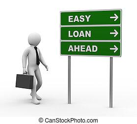 3d, zakenman, gemakkelijk, lening, vooruit, roadsign
