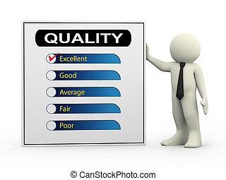 3d, zakenman, met, kwaliteit, onderzoeken; inspecteren;