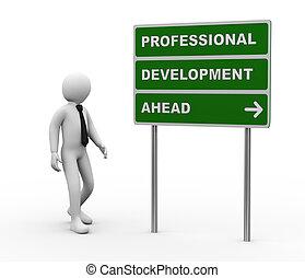 3d, zakenman, professioneel, ontwikkeling, vooruit, roadsign