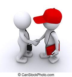 3d, zakenman, schuddende handen, met, klant