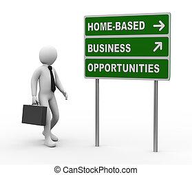 3d, zakenman, thuis, gebaseerd, zakelijk, kansen, roadsign