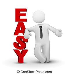 3d, zakenmens , het voorstellen, woord, gemakkelijk, concept