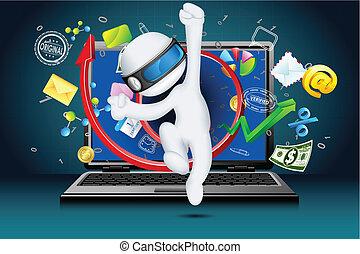 3d, zakenmens , komen uit, van, draagbare computer