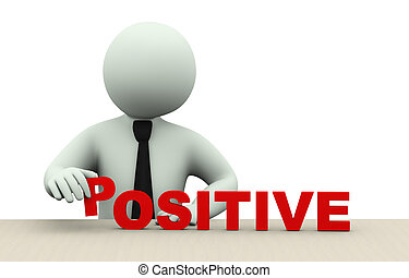 3d, zakenmens , met, woord, positief