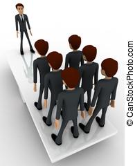 3d, zakenmens , staand, op, seasaw, te creëren, evenwicht, concept
