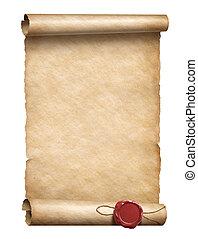 3d, zeehondje, boekrol, illustratie, was