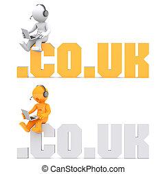 3d, zeichen, sitzen, auf, .co.uk, domäne, zeichen.