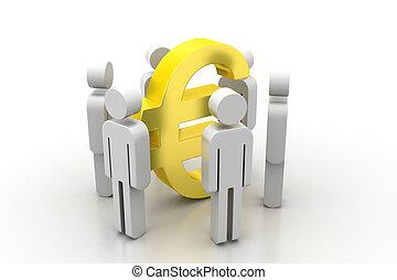 3d, zeichen, ungefähr, euro, leute