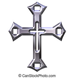 3d, zilver, artistiek, kruis