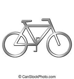 3d, zilver, fiets
