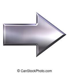 3d, zilver, richtingwijzer