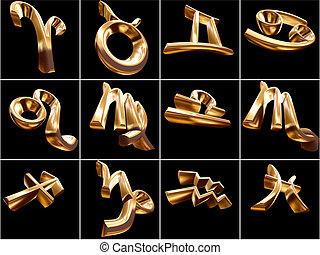 3d, zodiaque, signe