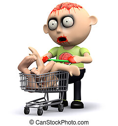 3d Zombie goes shopping