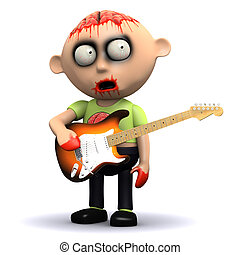 3d Zombie guitarist - 3d render of a zombie with a guitar
