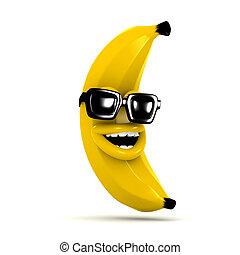 3d, zonnebrillen, aanhebben, banaan, lachen