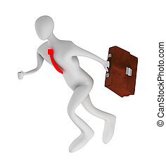 3dbusinessman running with briefcase - 3d businessman...