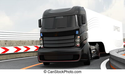 3DCG animation of hybrid truck