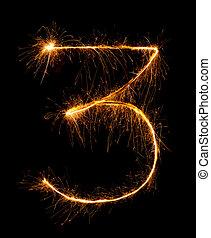 3.digit, drie, gemaakt, van, vuurwerk, sparklers, op de...