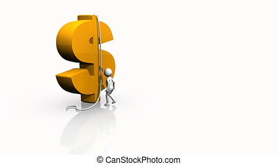 3Dman climbing a dollar sign against a white background