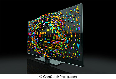 A 3DTV Television concept of a flat screen LCD or LED TV with colorful fragmented cubes emitting out of the screen towards the viewer