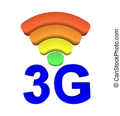 3G and signal symbol on white background