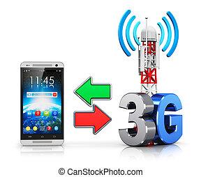 3g, communication sans fil, concept