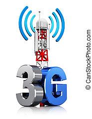 3g, comunicação rádio, conceito