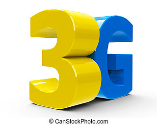 3G icon isometry - Yellow and blue 3g symbol, icon or button...