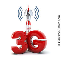 3g tower - render of a communication tower and the text 3g