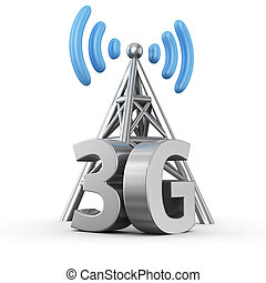 3G transmitter - Metal antenna symbol with letters 3G on...