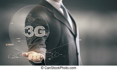 3G with hologram businessman concept - Business Technology...