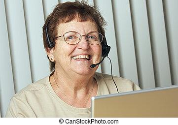 3º edad, auriculares, sonriente, teléfono, adulto