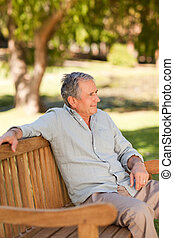 3º edad, banco, hombre, Sentado