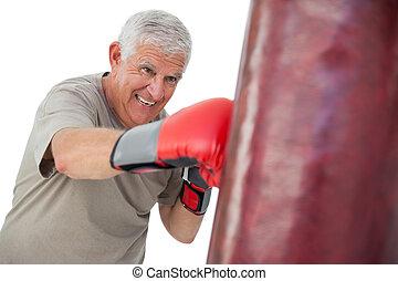 3º edad, boxeador, determinado, retrato