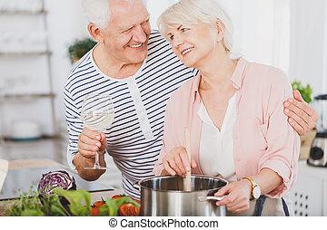 3º edad, cocina, pareja