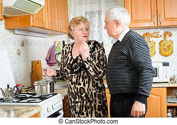 3º edad, cocina, pareja, juntos