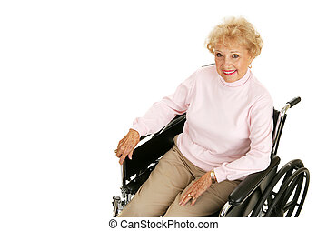 3º edad, dama, en, sílla de ruedas, horizontal