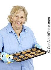 3º edad, galletas, mujer, astilla, chocolate