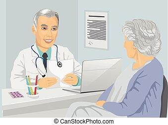 3º edad, hembra, paciente, teniendo, consulta, con, médico...