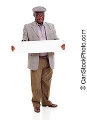 3º edad, hombre africano, tenencia, blanco, panel blanco