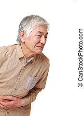 3º edad, hombre japonés, sufre, de, stomachache